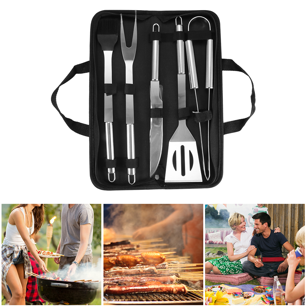 20Pcs BBQ Grill Cooking Utensils Tool Set Stainless Steel Barbeque Portable Bag