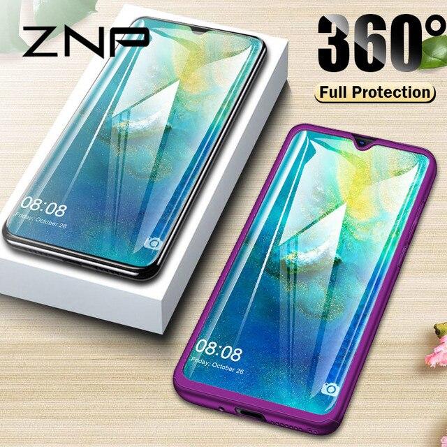 ZNP ZNP 360 Đầy Đủ Bìa Điện Thoại Trường Hợp Đối Với Huawei P9 P20 Lite P10 Cộng Với Trường Hợp Bìa Cho Huawei P Thông Minh Người Bạn Đời 20 10 Lite Pro Trường Hợp Với Thủy Tinh
