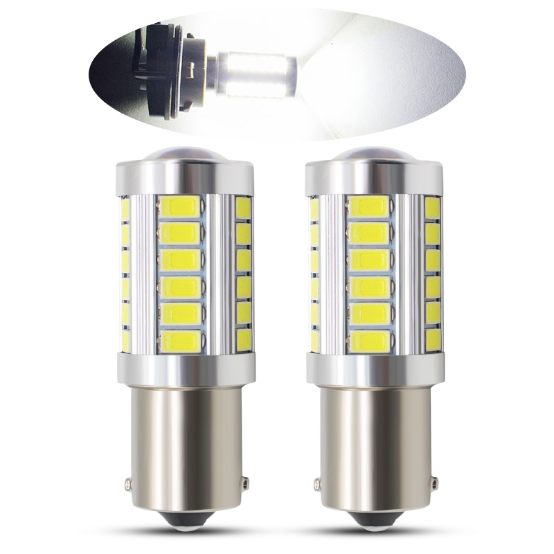 1 / 2pcs 1156 <font><b>LED</b></font> <font><b>P21W</b></font> 7506 BA15S 33SMD 5630 5730 <font><b>LED</b></font> Auto Brake Lights Car Reversing Lamp Reverse <font><b>Bulbs</b></font> Turn Signal <font><b>Bulbs</b></font> White image