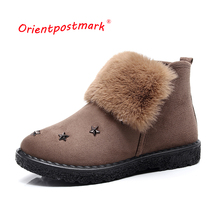 Snow Suede Ankle Boots Women Flats Winter Warm Plush Shoes Black Brown Short New Fur