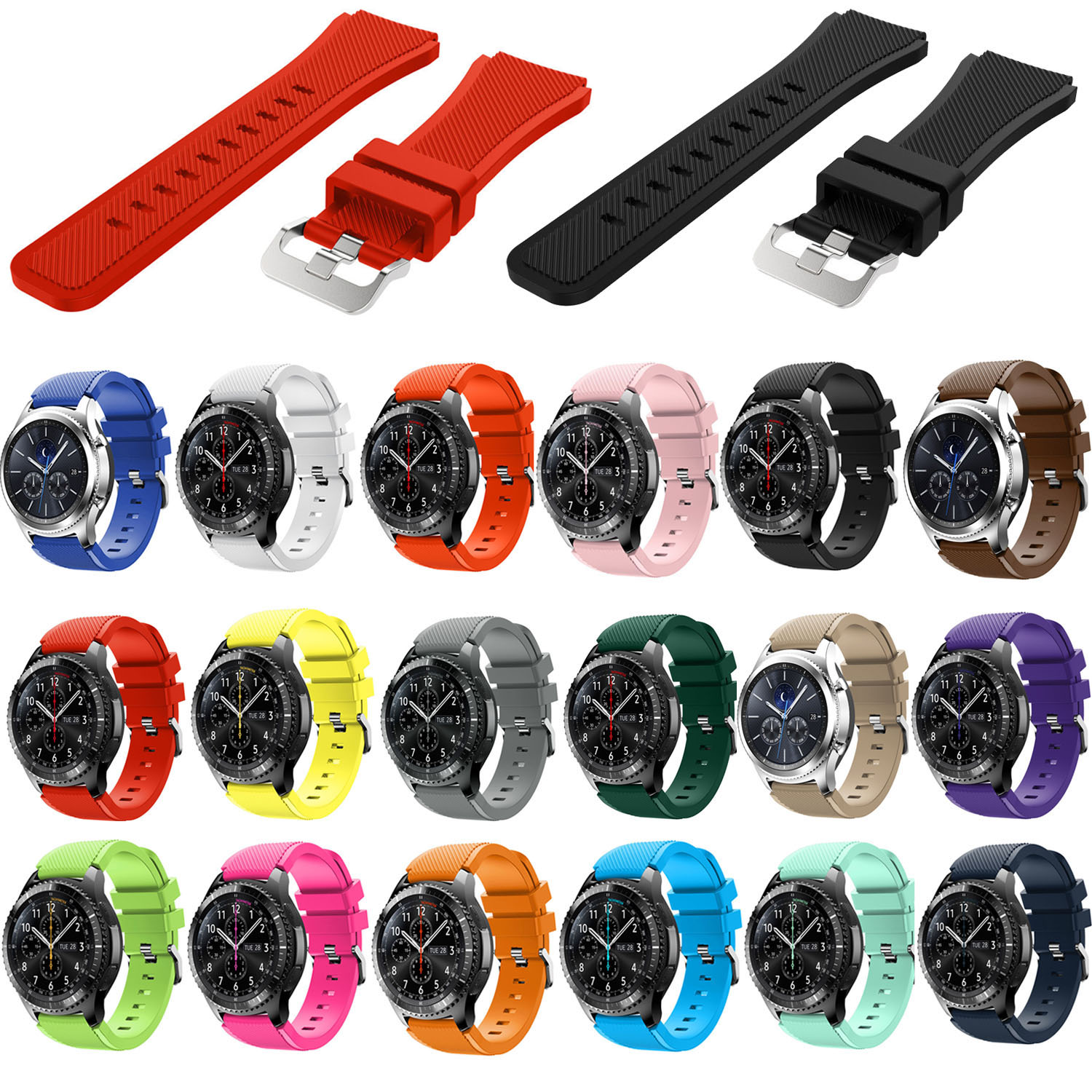 22mm Sports Silicone Watch Band For Samsung Gear S3 Frontier/Classic Strap For Xiaomi Huami Amazfit Pace/Stratos 2/1 Wristbands