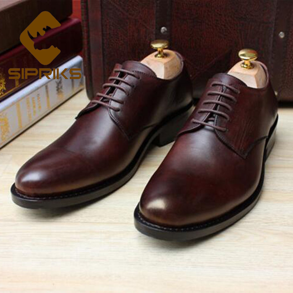 Sipriks Luxury Mens Goodyear Welted Shoes Vintage Dark Brown Derby Shoes Italian Custom Formal Business Work Flats Suits Gents 2016 luxury mens goodyear welted oxfords shoes vintage boss brogue shoes italian mens dress shoes elegant mens gents shoes derby