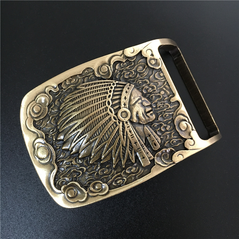 Indian Belt Buckle Solid Brass Cowboy Belt Diy Accessories Men Belts Buckles TOP Quality Mens Belts Luxury Buckle BK0055