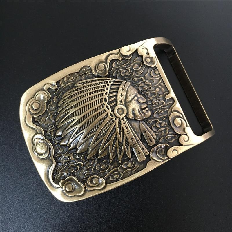 Indian Belt Buckle Solid Brass Cowboy Belt Diy Accessories Men Belts Buckles TOP Quality Mens Belts Luxury Buckle BK0055