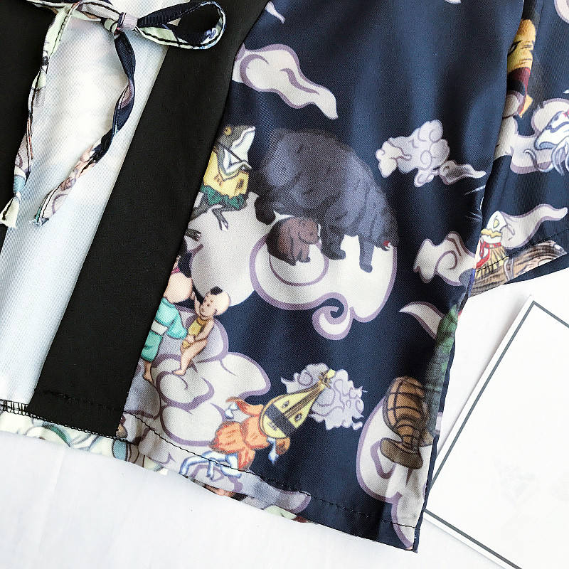 Devils Pajarita Señora Blue Cardigan Neploé Nocturna Manga Bordado Camisa Suelto Kimono Blusa Cuello 33330 Corta Japonés Harajuku En V De Impresión 6wfOdwSq