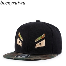 Beckyruiwu 2018 Camouflage Snapback Top Quality 3D Embroidery Cool Eyes Hip Hop Cap Flat Bill Baseball Cap for Men and Women