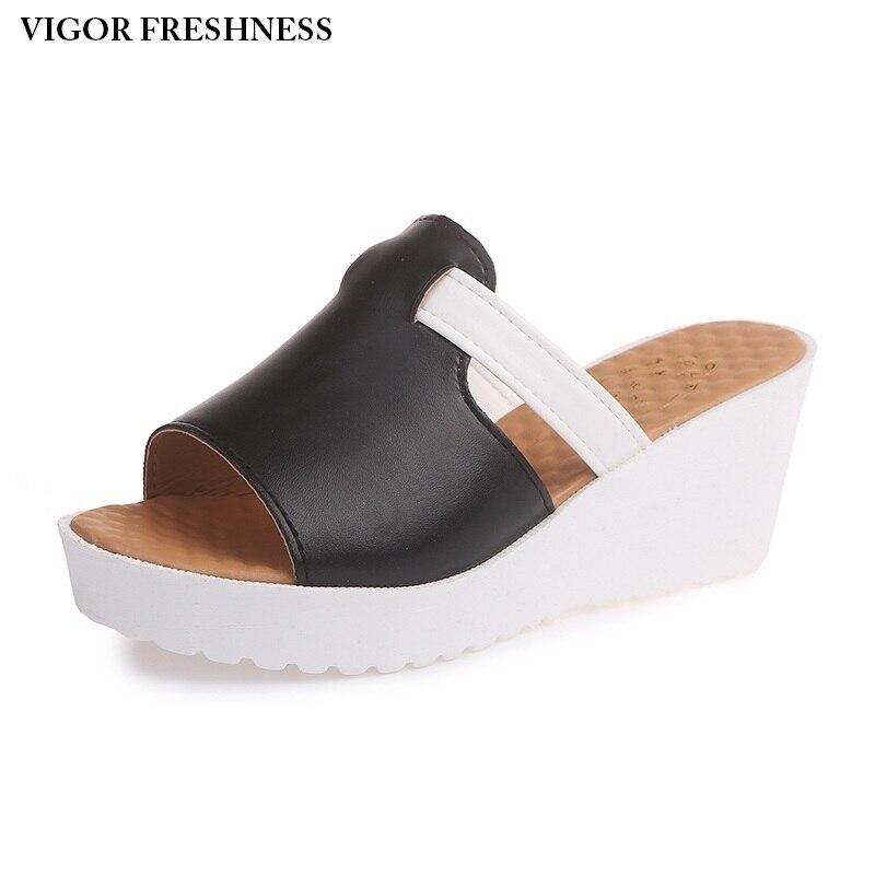KRAFT FRISCHE frauen Sandalen Sommer Schuhe Frauen Plattform Sandalen Slip Auf Casual Maultiere dame Schuhe Weibliche Große Größen 47 48 W212