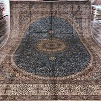 YILONG 9 X12 Classical Persian Style Silk Rug Blue Medallion Villa Decoration Large Size Carpet WY319A9x12
