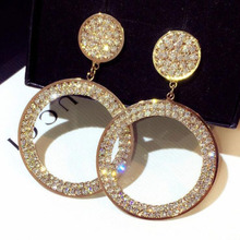 High Quality Full Rhinestones Hoop Earrings For Women Girls Statement Crystal Hot Gift Round big Circle