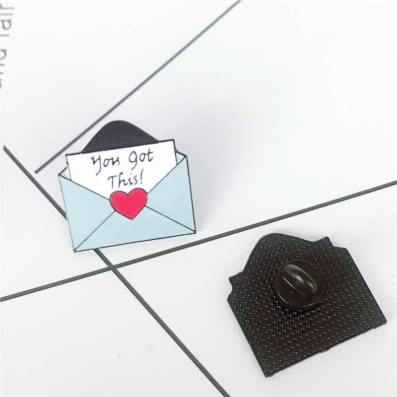 Cinta Amplop Bros untuk Wanita Ungu Sederhana Biru Denim Jaket Kemeja Tas Lencana Enamel Pin Bros Fashion Perhiasan Hadiah