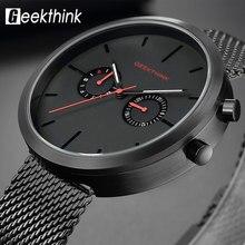 Relojes de cuarzo de marca superior, reloj de pulsera negro de acero completo, reloj de pulsera moderno informal a la moda para hombre Swizerland