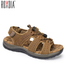 ROXDIA Genuine Leather Men Sandals Summer Beach Shoes New Fashion Breathable Men Slippers Causal Shoes Plus Size 39-45 RXM003