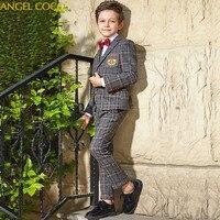 Boys Suit Kids Stripe Wedding Blazer Suit Brand Flower Boys Formal Tuxedos School Suit Kids Spring Clothing Suits For Weddings
