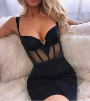Top Quality Bandage Dress Sexy Strap Mini Black Pink Red Elegant Night CLub Bodycon Party Dresses