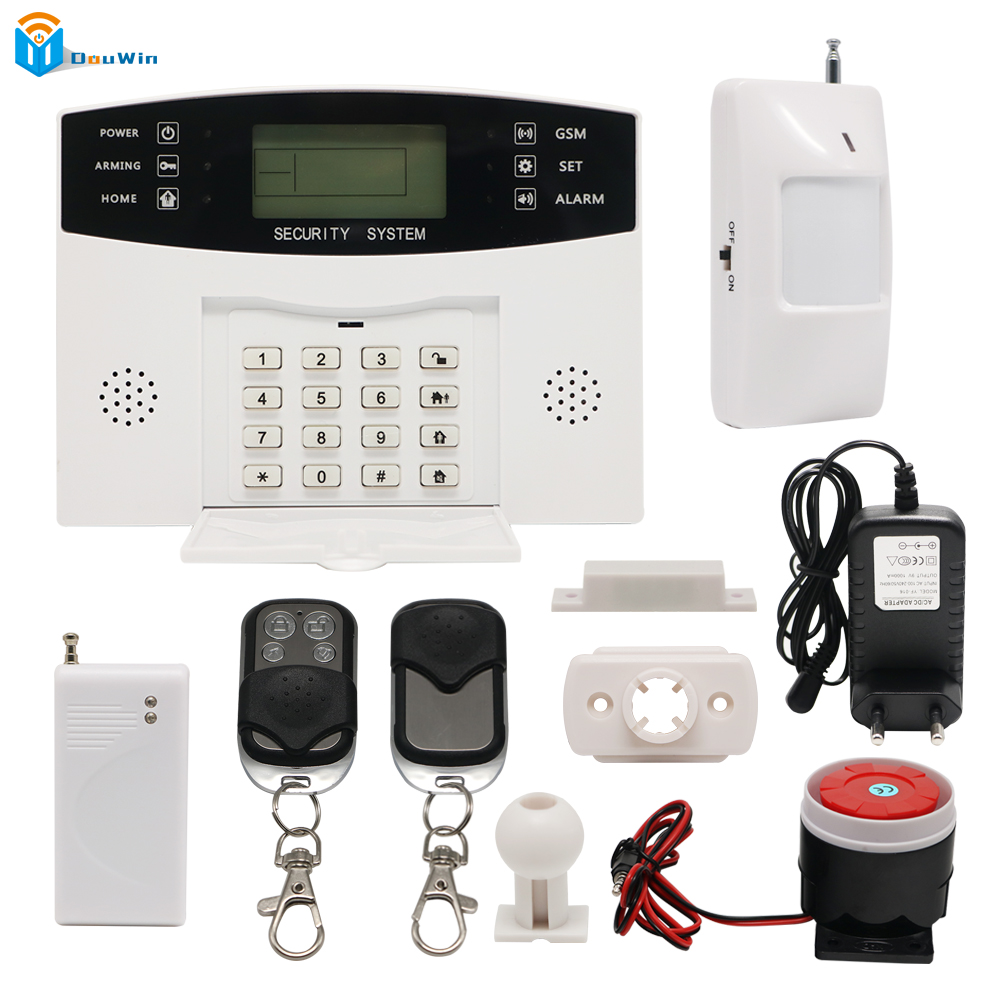 Wireless SIM GSM Home Burglar Security LCD Keyboard  Sensor kit English Spansih Russian Smart House DouWin GSM Alarm System настенный газовый котел vaillant turbo tec plus vu 202 5 5