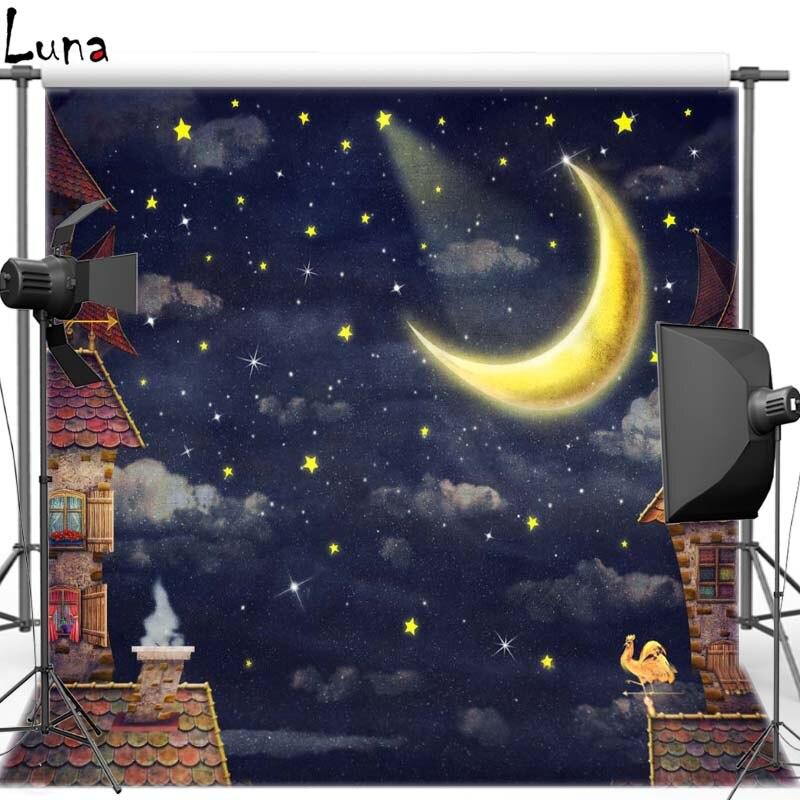 Night Sky Vinyl Photography Background New Moon Cartoon House Oxford Backdrop For Children photo studio Free Shipping F2728 зенитный прожектор night sun sf011 sky rose купить