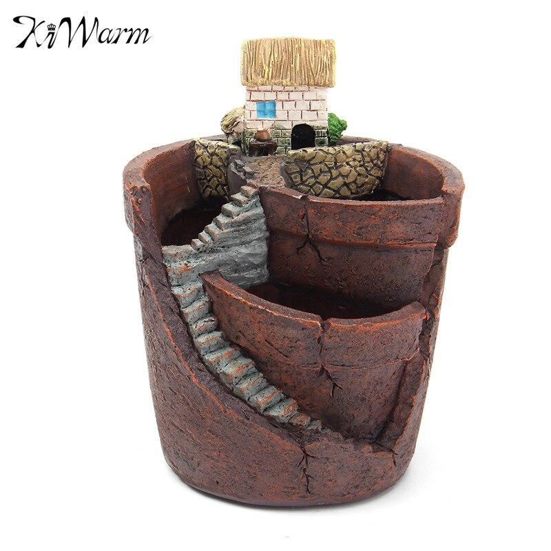 KiWarm Vintage Succulent Planter DIY Flower Plant Bonsai House Pot Garden Green Plants For Home Garden Resin Crafts Ornaments