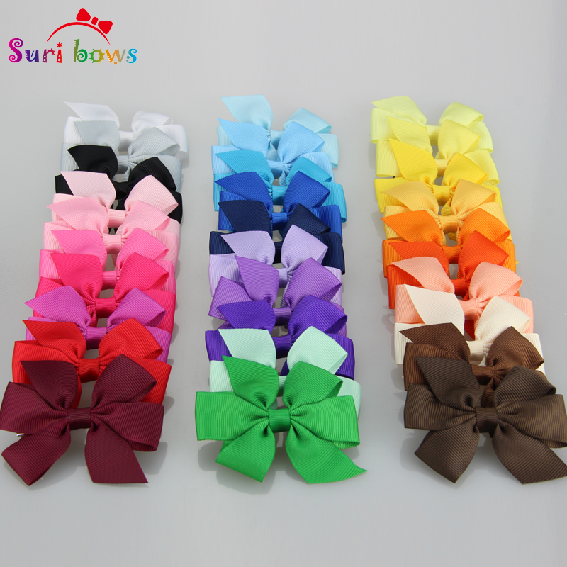30 Pcs/set Sweet Lovely Hair clips Solid Hairbow Head Accessories Floral Headwear Baby Girls Children Grosgrain Headpins FS026