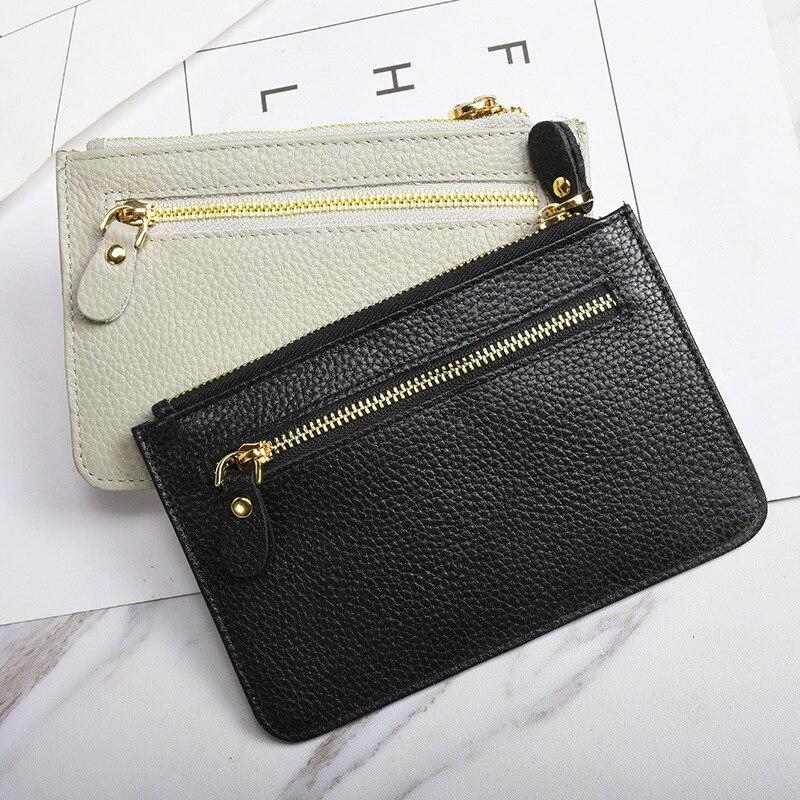 2017 han edition cowhide zero wallet zipper brief paragraph purse small wallet nuzhen purse card BaoChao customization