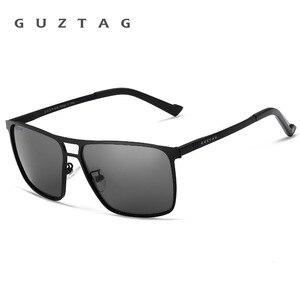 Image 5 - Guztagサングラスステンレス鋼の正方形男性/女性偏光ミラーUV400サングラス男性oculos G8029