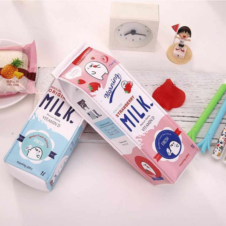 1 Pcs Kawaii Pencil Case Milk Square Gift Estuches School Pencil Box Pencilcase Pencil Bag School Supplies Stationery