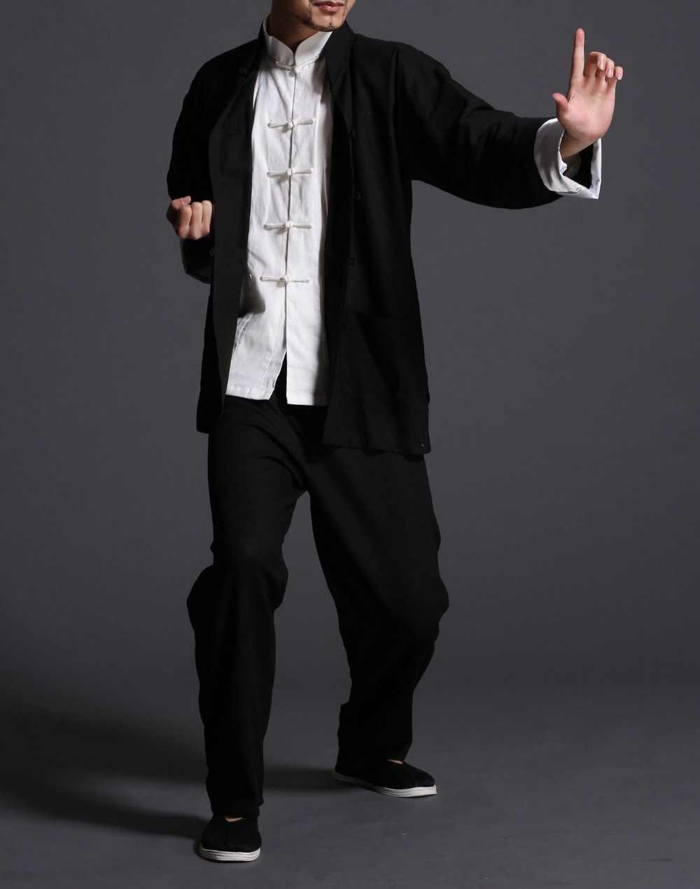 عالية الجودة 3 قطعة/المجموعة الذكور الكتان والقطن الكونغ فو الدعاوى الجناح تشون تاي تشي فنون الدفاع عن النفس مجموعة ملابس أسود