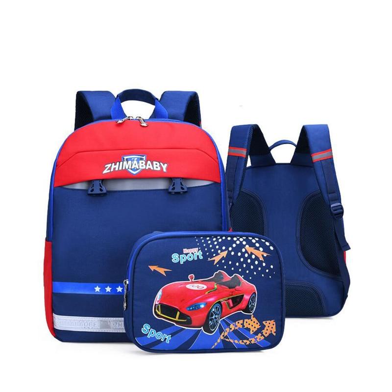 Us 19 95 40 Off Orthopedic School Bags For Kids Removable Backpack Printing Cartoon Car Design Waterproof Book Bag Students New In