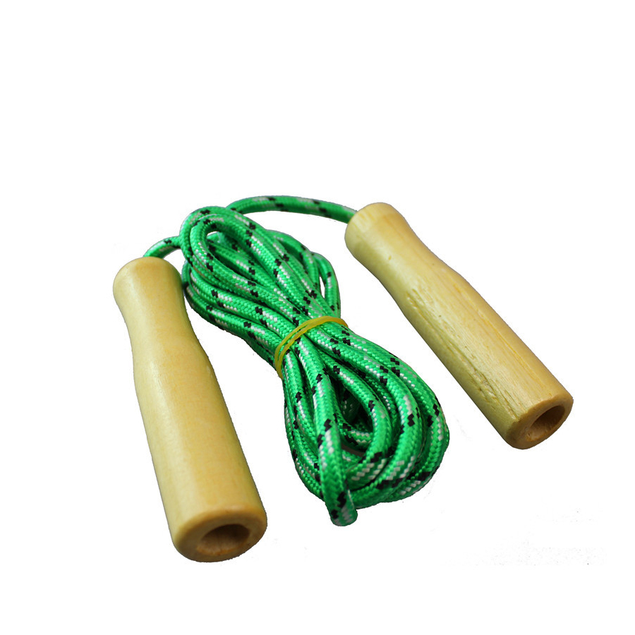 Assorted Design Kids Children Cartoon Animal Wooden Handle Skipping Jump Rope Exercise Blue 1pc