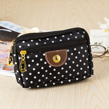 все цены на New fashion 2019 women Fashion Clutch Short Wallet Polka Dots Purse zipper Card Phone Holder coin Small money trifold Bag sale онлайн