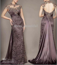 Wholesale - 2014 Sexy Sweetheart Lace Stunning Beading Cap Sleeves Backless Sheath Evening Dresses Prom Gowns