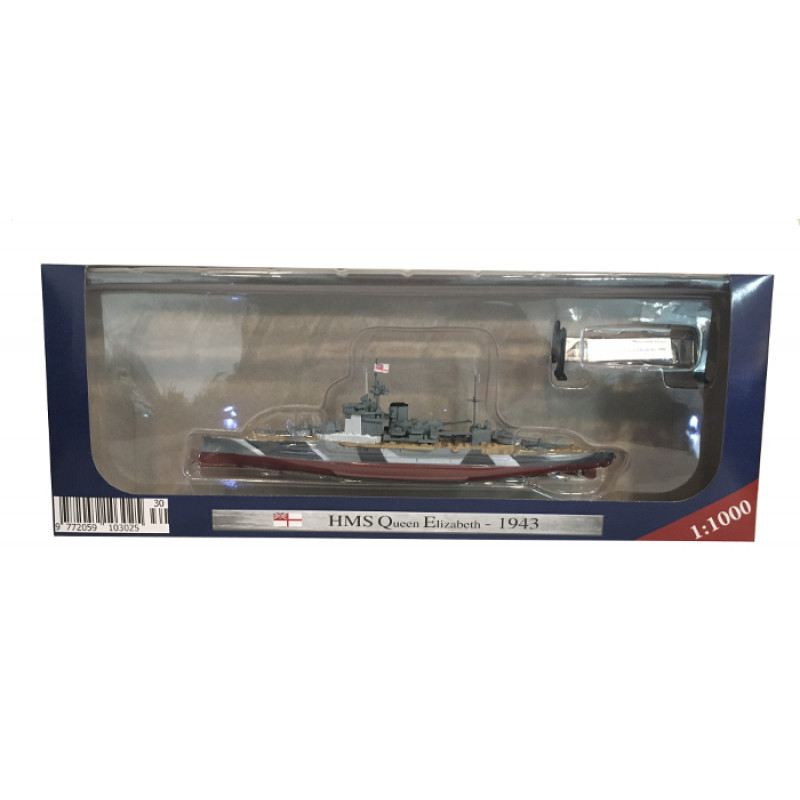 AMER 1/1000 Scale Military Model Toys HMS Queen Elizabeth 1943 Battleship Diecast Metal Ship Model Toy For Collection,Gift