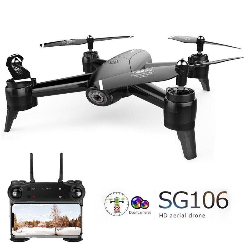 В наличии SG106 Радиоуправляемый Дрон оптического потока 1080 P HD Двойная камера в режиме реального времени антенна видео RC Quadcopter самолет позици...