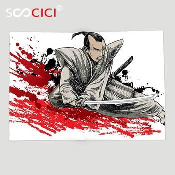 Custom Soft Fleece Throw Blanket Japanese Decor Collection A Warrior Holding a Katana in Ninja Clothes on Grunge Background