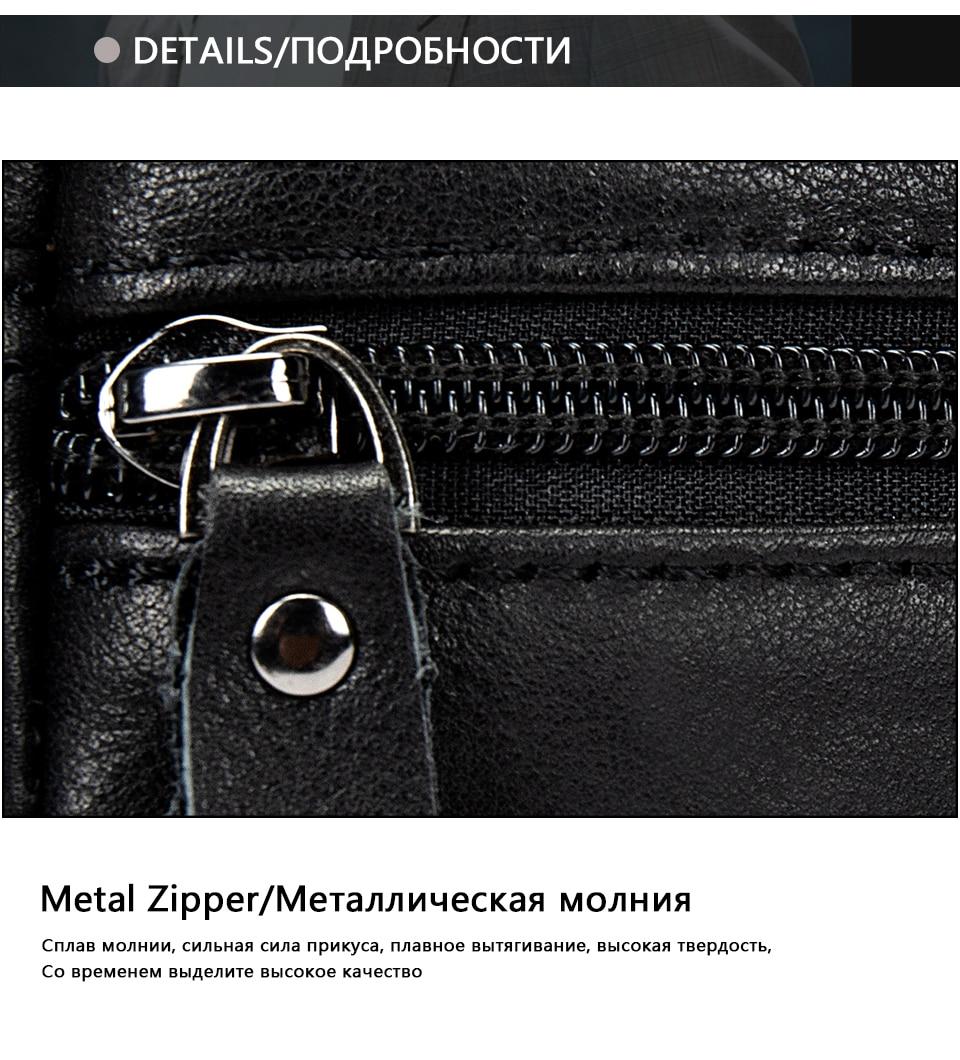 Men's Shoulder Bag for Men Crossbody Bags Genuine Leather Flap Small Male Bussiness Handbags with Zipper Messenger Bag 16