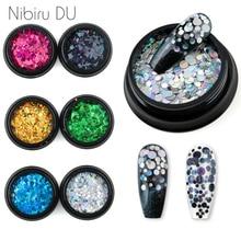 цена на 1 Box Mixed Size Round Ultrathin Sequins Nail Art Glitter Colorful Laser DIY Glitter Manicure Nail Art Decoration