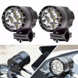 Faduies 1 par de faróis da motocicleta 12 v 60 w u2 led moto spotlight faróis moto ponto cabeça luzes condução lâmpada auxiliar