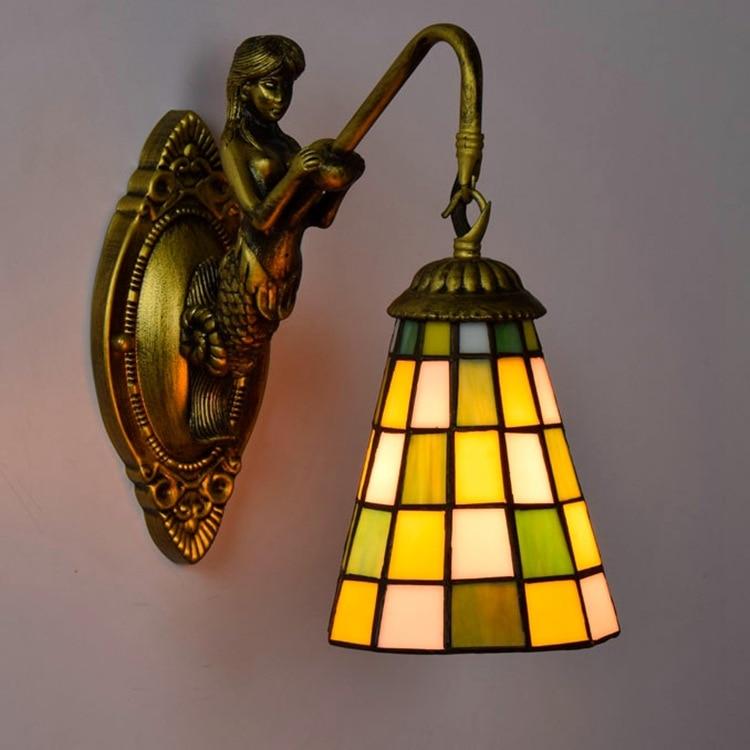 tiffany fashion European style wall lamp Baroque Bohemia Mermaid mirror light fashion rustic bed-lighting lamps tiffany ems free shipping tiffany pendant light fashion romantic lighting rustic lamps restaurant lamp df68