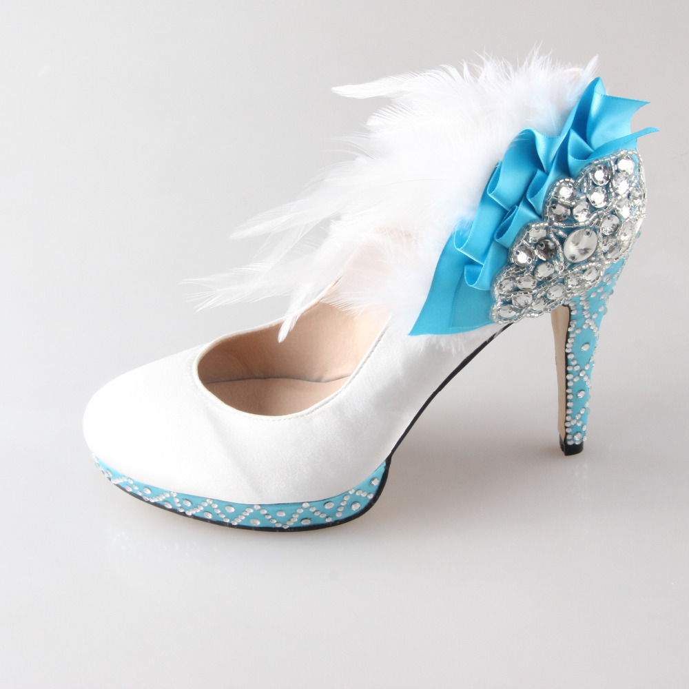 N handmade white high heels with with light baby blue for Blue shoes for wedding dress
