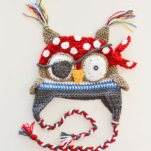 Шапка в виде пиратской совы для маленьких мальчиков, вязаная крючком шапка в виде пиратской совы, шапка в виде животного ручной работы, шапка-ушанка из хлопка для подарка на Рождество