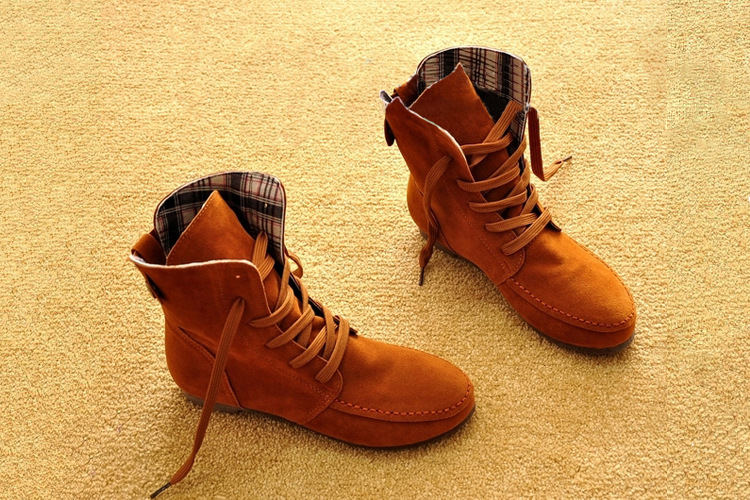 8 Colors Brand New Women Students Flat Ankle Snow Motorcycle Boots Female Suede Lace-Up Boots Shoes Woman Plus Size 35-44 front lace up casual ankle boots autumn vintage brown new booties flat genuine leather suede shoes round toe fall female fashion