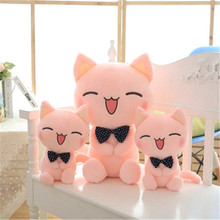 SBB lovely pink Plush toys doll bow tie big face cat cushion Whole cotton filling the gift for birthday festival Smiling