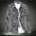 M-xxxl 4XL 5XL 6XL 2015 primavera hombre camisa de leopardo camisa masculina chemise homme camisa casual de manga larga para las camisas para hombre vestido