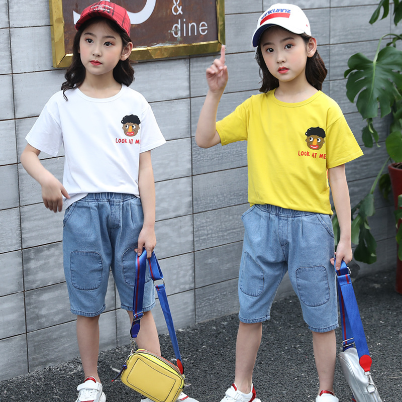 girls clothes Girls summer suit 2019 new children fashion jeans sports sweater two-piece sets