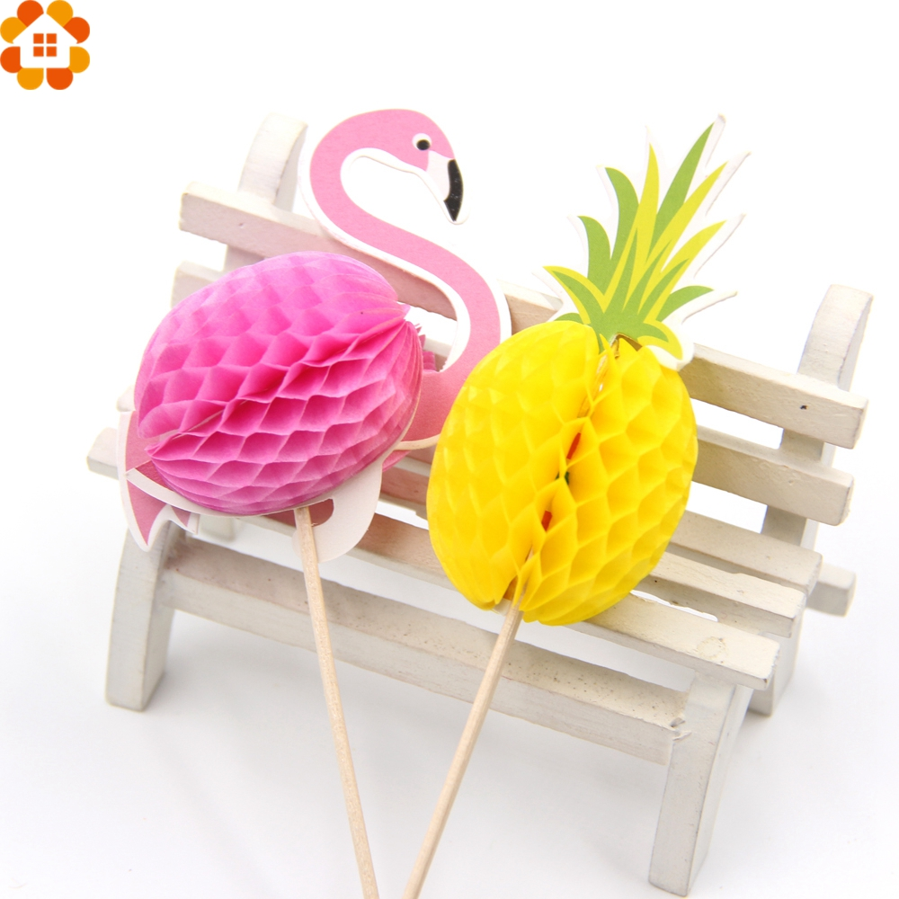 20PCS Flamingo Cupcake Toppers DIY Cakes Topper Picks Pinapple Topper Wedding/Birthday Party Decoration Baby Shower Supplies цена