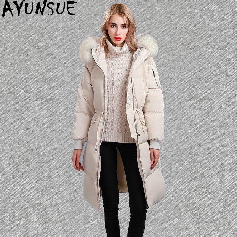 e33759d28 US $191.25 |AYUNSUE Winter Jacket Women Korean Duck Down Jacket Woman  Hooded Big Racoon Fur Collar Long Puffer Coat Parkas Mujer 2019 KJ608-in  Down ...