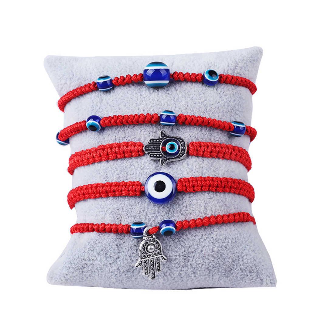 Thổ nhĩ kỳ Evil Eye Bảo Vệ Kabbalah Red Chuỗi Vòng Tay Fatima Tay Đồ Trang Sức