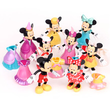 NEW hot 8pcs/set Mickey and Minnie Change clothes action figure toys collector Christmas gift doll