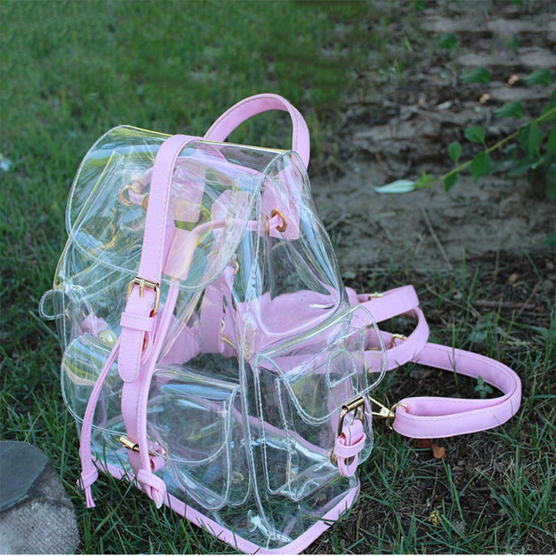 Новый женский рюкзак прозрачный пластиковый прозрачный прозрачность безопасности рюкзак для девочек-подростков дорожная школьная сумка mochila feminin