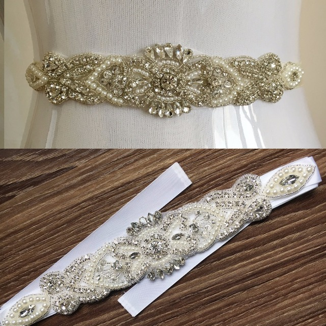 2016 Hot Sale Luxury Beaded Pearls Crystals Rhinestones White/Ivory Wedding Belt Bridal Sahes Handmade PJ104