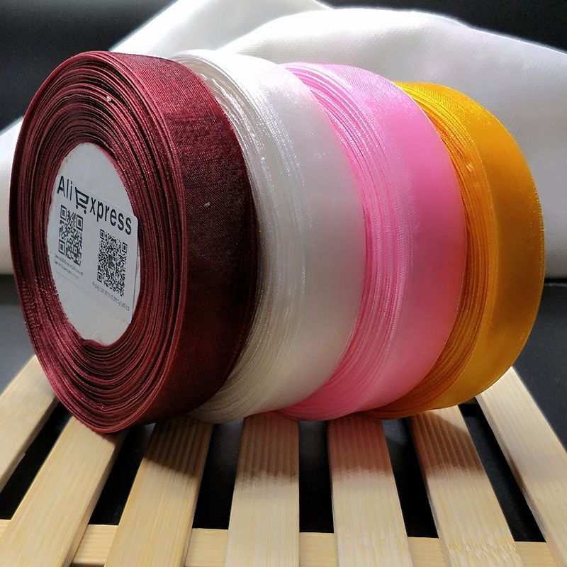 HL 4 reels 200yards 20mm width double face organza ribbon webbing wedding party decoration crafts gift packing belt A167 in Ribbons from Home Garden